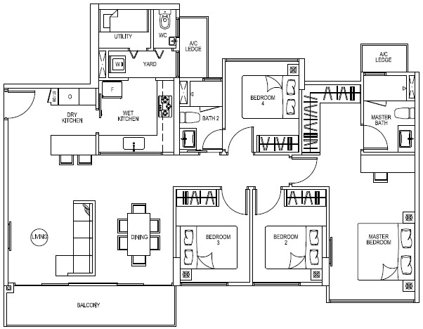The Rainforest EC . Floor Plans . 4 Bedrooms